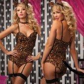 Леопардовое боди с хвостиком и ушкам - Секс шоп Мир Оргазма