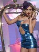 Клубное платье с ассиметричным вырезом синее-OS - Секс шоп Мир Оргазма