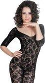 Костюм-сетка с рукавами, шелковистое плетение, черный-S/L - Секс шоп Мир Оргазма