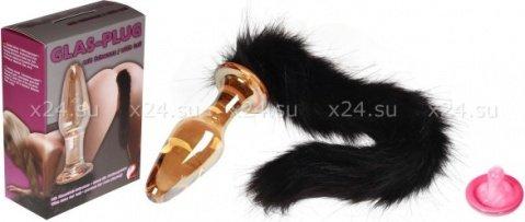 Анальная пробка силиконовая с хвостом из натурального меха, фото 2, Анальная пробка силиконовая с хвостом из натурального меха