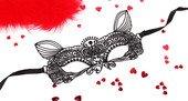 Чёрная ажурная маска на завязочка - Секс шоп Мир Оргазма