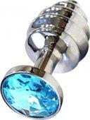 Анальная пробка с голубым кристаллом, серебряна - Секс шоп Мир Оргазма