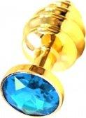 Анальная пробка с голубым кристаллом, золота - Секс шоп Мир Оргазма