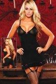 Черное платье с подвязками для чуло - Секс шоп Мир Оргазма