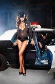 Игровой костюм полиция нравов: рубашка, трусики, пояс, значок и фуражк - Секс шоп Мир Оргазма