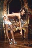 Чулки Five Star French Maid высокие в сетку черные (42-46) - Секс шоп Мир Оргазма