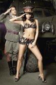 Игровой костюм сексуальная сержантка: топ и мини-юбк - Секс шоп Мир Оргазма