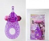 Кольцо эрекционное с вибрацией + коготок для стимуляции клитора (цвет-фиолетовый - Секс шоп Мир Оргазма