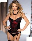 Корсет с подвязками Margot, черно-красны - Секс шоп Мир Оргазма