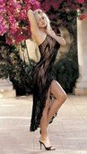 Платье-комбинация (черное) длинное с глубоким разрезом сперед - Секс шоп Мир Оргазма