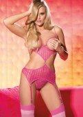 Боди ажурное с открытой грудью (розовый - Секс шоп Мир Оргазма