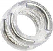 Двойное эрекционное кольцо Double Stack Ring с металлическими вставками прозрачно - Секс шоп Мир Оргазма