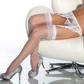 Чулки увеличенного размера капрон белы - Секс шоп Мир Оргазма