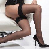 Чулки увеличенного размера черные с узкой кружевной резинко - Секс шоп Мир Оргазма