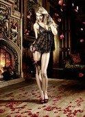 Dolce Vita Пеньюар черный из кружева с роскошной цветочной вышивкой - Секс шоп Мир Оргазма