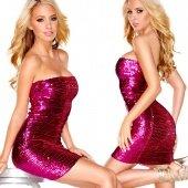 Розовое платье-бандо с пайетками the spark ing quee - Секс шоп Мир Оргазма