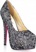 Гипюровые туфли с кристалами dark silver  - Секс шоп Мир Оргазма
