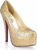 Золотистые туфли с кристаллами golden diamond 1 - Секс шоп Мир Оргазма