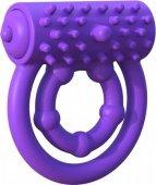 Эрекционное кольцо Vibrating Prolong Performance Ring на пенис и мошонку фиолетовое с вибрацие - Секс шоп Мир Оргазма