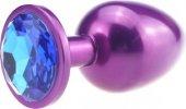 Пробка металл фиолетовая с синим стразом 11,2 х2,9 см 47417-3M - Секс шоп Мир Оргазма