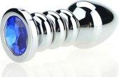 Пробка металл фигурная серебро с синим стразом 10,3 х3,8 см 47423-3M - Секс шоп Мир Оргазма