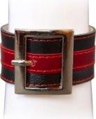 Р2110 Браслет чёрно-красный с квадратной пряжкой, размер универсальный - Секс шоп Мир Оргазма