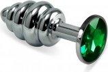 Анальная втулка Silver Spiral с зелёным кристалло - Секс шоп Мир Оргазма