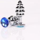 Анальная пробка фигурная 8 х3,5 см фигурная синий страз 47146-2MM - Секс шоп Мир Оргазма