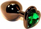 Пробка анальная черная 7,5 х2,8 см с сердечком зеленый страз 47438-6M - Секс шоп Мир Оргазма