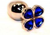 Пробка анальная металл 7,5 х2,8 см с сердечком синий страз 47439-3M - Секс шоп Мир Оргазма