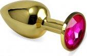 Анальная втулка Gold средняя с малиновым кристалло - Секс шоп Мир Оргазма