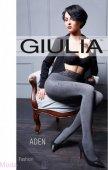 Колготки серые giulia aden 02 с фантазийным рисунком на кружевном поясе с силиконовой основой, 120 den, 3 м - Секс шоп Мир Оргазма