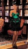 Изумрудный атласный корсет с бантом L - Секс шоп Мир Оргазма